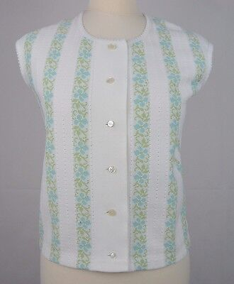 Ladies 1970s Floral Round Collar Sleeveless Buttoned Tank Top Sz 12 DY65