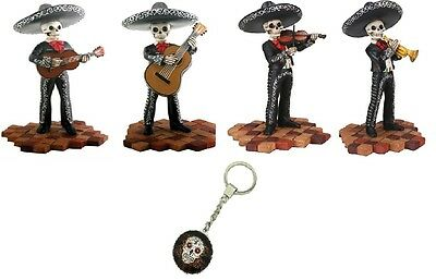 Skeleton Mariachi Band Players Day of the Dead Figurine Set of 4 FREE Key Chain