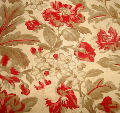 BEAUTIFUL FRAGMENT 19th CENTURY FRENCH LINEN & COTTON, ROSES RAGGED POPPIES