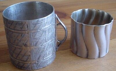 Two (2)  Unique Antique Pewter Silver Napkin Ring Holders Early 1900