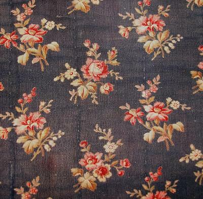 BEAUTIFUL FRAGMENT 19th CENTURY FRENCH INDIGO BLUE LINEN, ROSES, DOLLS PROJECTS