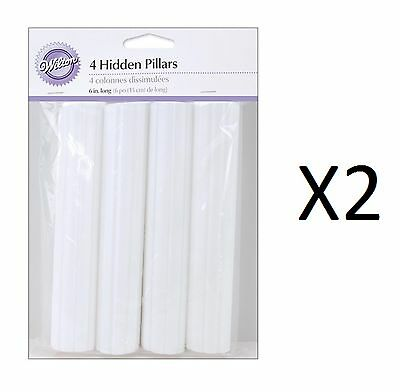 "Wilton Hidden Cake Pillars White 6"" Trimable Pack Of 4 Hollow Plastic (2-Pack)"