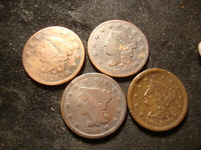 1828 1830 1841 1851 Large Cents Decent Looking Coins  SLOSS