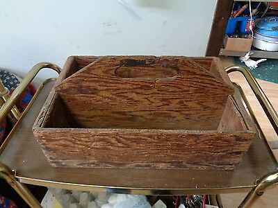 Vintage Wooden Tote Box Carry Farm Tool Rustic