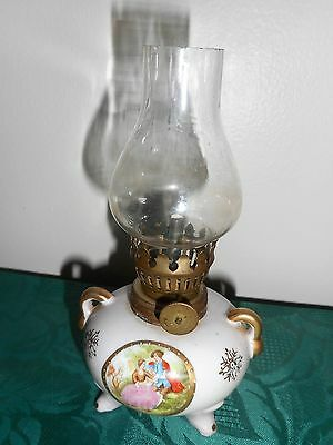 Small porcelain Arnart Imports Japan Miniature Oil Lamp from Estate in EUC