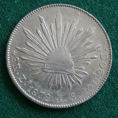 1878 Mexico Silver 8 Reales Mexican Zs JS radiant cap