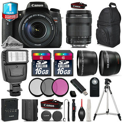 Canon EOS Rebel T6s Camera + 18-135mm IS STM + Flash + EXT BATT + 1yr Warranty