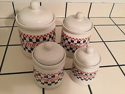 Canister Set Of 4- Coca-Cola Checkered Red/black