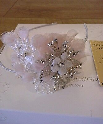 Richard Designs vintage inspired lace/diamante/pearl flower  side Tiara TR1995A