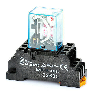 1pc Plastic + copper 6134 5A Electromagnetic Relay - Black + Blue (AC 220/240V)