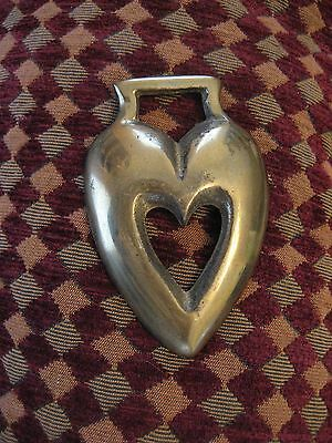 Vintage horse brass double heart within heart equestrian