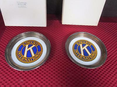 Rare Set of 4 Silver Plate And Porcelain Coasters KIWANIS vintage gift