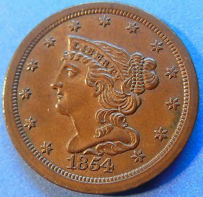 1854 Braided Hair Half Cent Uncirculated Mint State MS Brown US Coin Z#3860