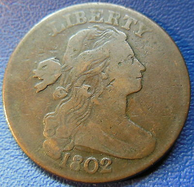 1802 Draped Bust Large Cent Very Fine to Extra Fine Large CUD US Coin Z#6978
