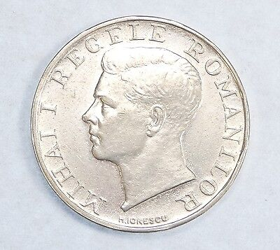 1941 ROMANIA King Mihai Silver 250 Lei Coin AU - Catalog Price for XF is $50!!