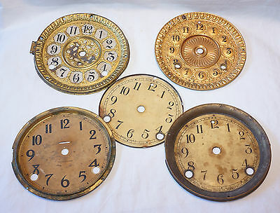 Mixed Lot of 5 Antique Vintage Clock Dial Face for parts repair project AS IS ..