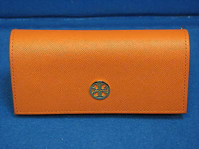 Tory Burch Large Sunglasses Case Holder Glasses Orange Gold Big Oversize Travel