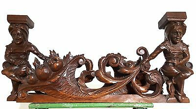 CARVED WOOD PEDIMENT MATCHED PAIR ANTIQUE FRENCH GOTHIC JESTER CARVING CREST b