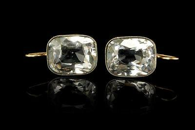 Antique Victorian Large Diamond Paste Sterling 18K Gold Earrings (051417066)