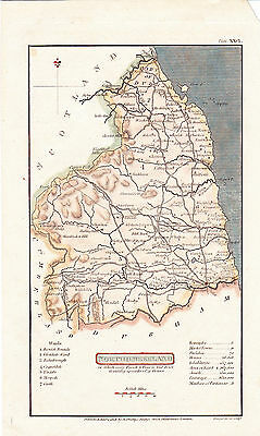 "1808 Original Antique Map - ""NORTHUMBERLAND"", England - Benjamin Capper's Atlas"