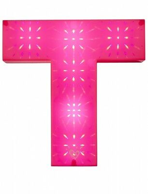 """Justice Girl's Pink Light Up Initial """"T""""  Wall Decor Wall Art New in Box"""