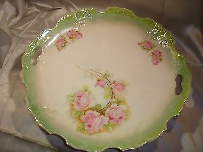 Antique Large hand painted Porcelain Cake Plate, Handles, Pink Roses