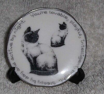Vtg Miniature Cat Dish eLgate Products Siamese Cats Kittens Porcelain Plate