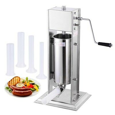 5L Vertical Commercial Sausage Stuffer 15LB Two Speed Stainless Steel Meat Press