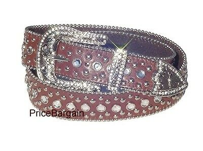 Western Rhinestone Crystal Bling Studded Brown Snap On Buckle Leather Belt L