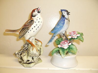 "2 Large Bird Figurines - Wood Thrush &  Blue Jay -7"" In Height - Both Vintage"