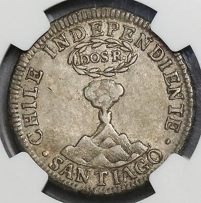 1834 NGC AU 50 CHILE Volcano Silver 2 Reakes Rare 4K Minted Coin (16092503C)