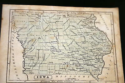 1852 Parley Beautiful Antique Atlas Map-Iowa-Handcolored-Vintage