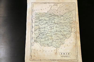1852 Parley Beautiful Antique Atlas Map-Ohio-Handcolored-Vintage