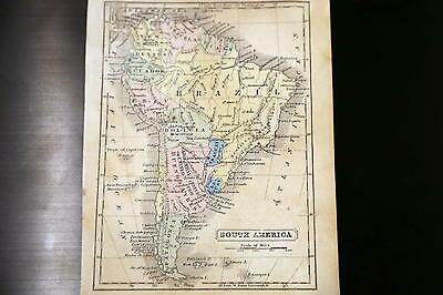 1852 Parley Beautiful Antique Atlas Map-South America-Handcolored-Vintage