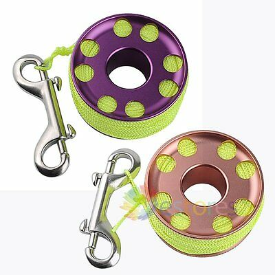 30m/98.4ft Line Scuba Cave Diving Dive Finger Spool Reel + Stainless Steel Clip