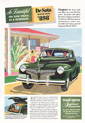 """1941 green DeSoto Deluxe Coupe art """"Low Price is a Surprise"""" promo print ad"""