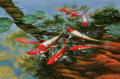 HD Print art Oil Painting Canvas Modern Home Deco Abstract Fish Koi 8x12in DW38