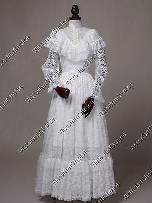 Victorian Edwardian Vintage White Lace Wedding Dress Special Occasion Gown 392