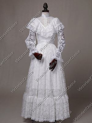 White Edwardian Victorian Vintage Wedding Gown Ghost Bride Halloween Costume 392