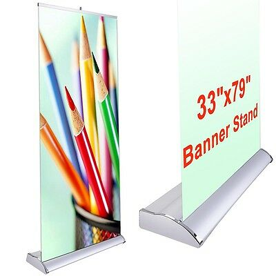 33x79 Pop Up Banner Stand Retractable Roll Trade Show Sign Wedding Party Display