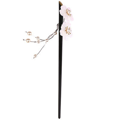 JAPANESE WOMEN WHITE FLOWER BLACK CHOPSTICKS HAIR STICK PIN CHINESE FANCY PARTY