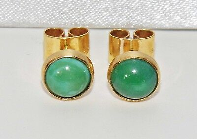 Vintage 9ct Yellow Gold Natural Turquoise Ladies Stud Earrings