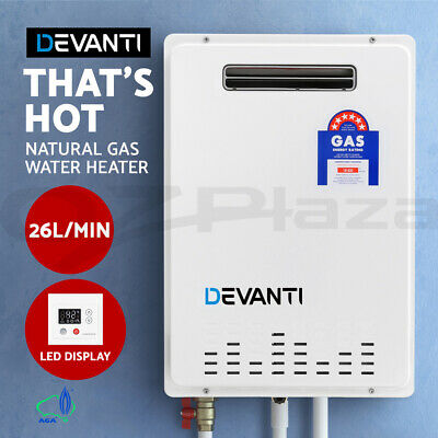 DEVANTI Home Gas Water Heater 26L Instant Hot Outdoor System Natural Gas White