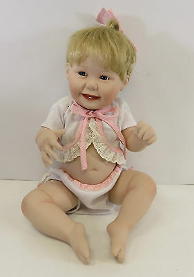 "Ashton Drake Porcelain Sitting Baby Girl Doll With White & Pink Outfit 10"" High"