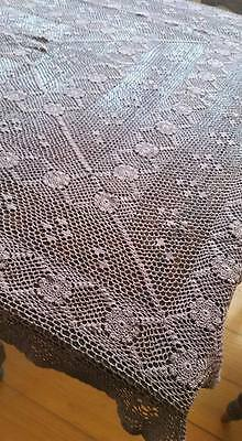 Stunning VINTAGE handmade Very Old crochet table cloth/bedspread Hand Dyed !!!!!