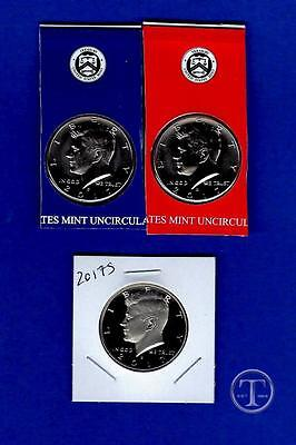 2017 P D and S-BU Plus Clad Proof Kennedy Half Dollars-PD from Mint Set-3 Coins