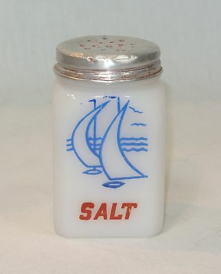 Vintage SAILBOATS Ships SALT Shaker TIPP CITY Milk Glass