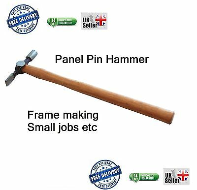 "Small Pin Stud Hammer Cross Pein Wooden wood Handle 13"" Panel Pins Nails Tack"
