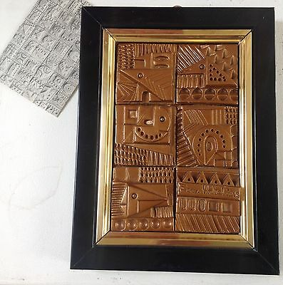 Ron Hitchins Ceramic Panel Framed with original label
