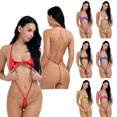 Sexy Women One-Piece Teddy High Cut Micro Bikini Thong Leotard Bodysuit Swimwear